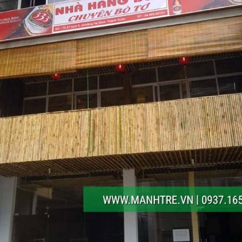 Ốp tre trúc nhà hàng và lắp đặt mành tre che nắng mưa TC03