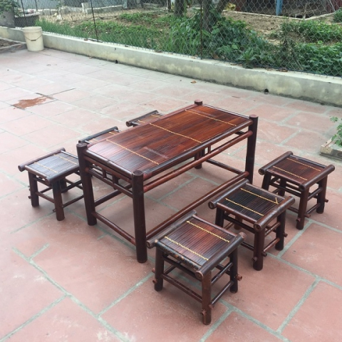 Bàn ghế tre NH03 (1 bàn 4 ghế) và (1 bàn 6 ghế)