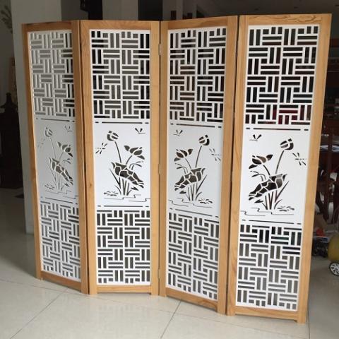 Bình phong gỗ tranh CNC Hoa Sen triện BP – 10