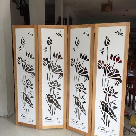 Bình phong gỗ tranh CNC Hoa Sen BP – 11