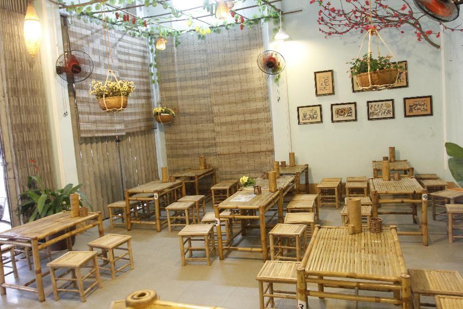 Bàn ghế tre nhà hàng 1 bàn 4 ghế